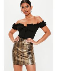 Missguided Brown Coated Snake Print Denim Mini Skirt