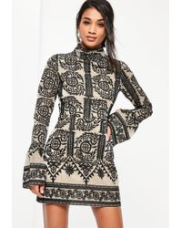 Missguided - Black Lace High Neck Frill Sleeve Shift Dress - Lyst
