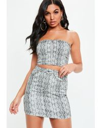 Missguided - Grey Snake Print Super Stretch Skirt - Lyst