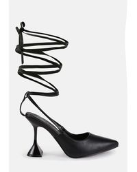 Missguided Black Tie Up Leg Feature Heel Court Shoes