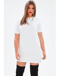 Missguided | Curve White Oversized T-shirt Dress | Lyst