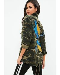 Missguided - Green Embellished Camo Jacket - Lyst