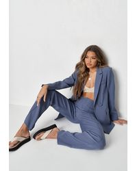 Missguided Co Ord Seam Detail Straight Leg Tailored Trousers - Blue