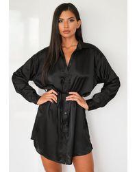 Missguided Black Satin Self Tie Oversized Shirt Dress
