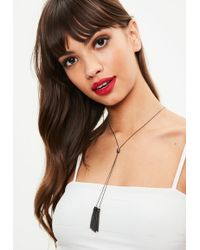 Missguided - Silver Split Chain Tassel Necklace - Lyst
