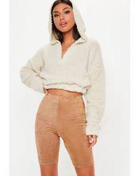 Missguided - Cream Teddy V Front Sweatshirt - Lyst