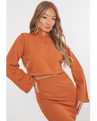 Missguided Co Ord Half Zip High Neck Jumper - Orange