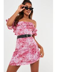 Missguided Paisley Bardot Frill Skater Dress - Pink
