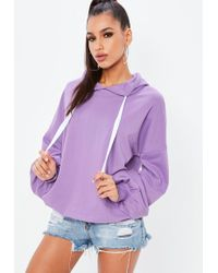 Missguided - Mauve Oversized Puff Sleeves Hoodie - Lyst