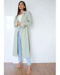 Missguided Mint Textured Belted Trench Coat - Blue