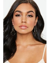 Missguided - Gold Look Fine Chain Circle Drop Earrings - Lyst