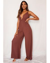Missguided Cheesecloth Scallop Beach Cover Up Playsuit - Brown