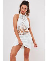 Missguided White Crochet Halterneck Mini Dress