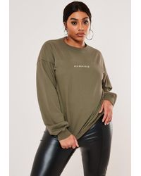 Missguided Size Green Oversized Crew Neck Sweatshirt