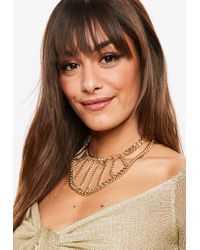 Missguided - Gold Thick Chain Choker - Lyst