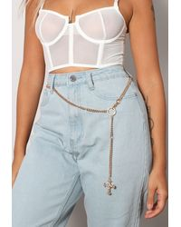 Missguided Look Cross Detail Chain Belt - Metallic