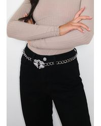 Missguided Silver Look Pave Butterfly Chain Belt - Metallic