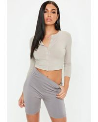 387d0bbab942a Missguided - Stone Button Front Long Sleeve Crop Top - Lyst