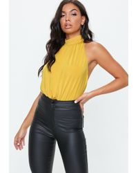 9897b64d22 Missguided Mustard Yellow Cowl Bodysuit in Yellow - Lyst