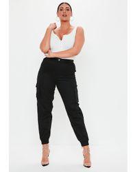 Missguided - Plus Size Black Plain Cargo Pants - Lyst