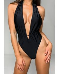 Missguided Tall Black Halterneck Plunge Swimsuit