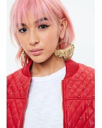 Missguided - Gold Cupid Hoop Earrings - Lyst