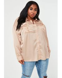 Missguided Plus Size Champagne Satin Extreme Oversized Shirt - Metallic