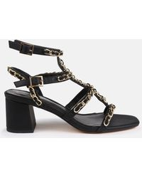 Missguided Black Chain Chunky Gladiator Sandals
