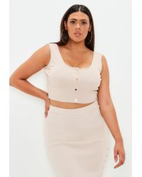 Missguided - Plus Size Sand Ribbed Co-ord Crop Top - Lyst