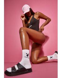 Missguided Playboy X Bunny Logo Socks - White