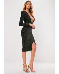 Missguided - Black Metallic Stripe Plunge Bodycon Dress - Lyst