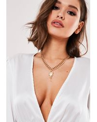 Missguided Gold Look Chunky Chain Padlock Necklace - Metallic