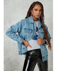 Missguided Petite Blue Oversized Denim Jacket