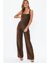 1fa7f56d48 Lyst - Missguided Red Shimmer Snake Print Jumpsuit in Red