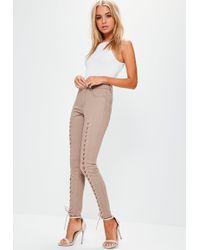 Missguided Camel Hustler Mid Rise Lace Up Super Skinny Jeans - Natural