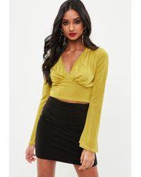 Missguided - Yellow Long Sleeve Slinky V Neck Crop Top - Lyst