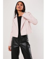 Missguided Faux Leather Ultimate Boxy Biker - Pink
