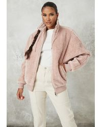 Missguided Faux Fur Oversized Zip Through Jacket - Pink
