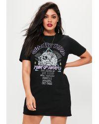 Missguided - Plus Size Black Slogan Print T-shirt Dress - Lyst