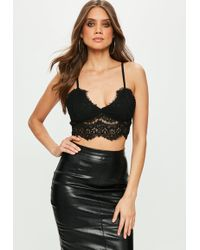 Missguided - Premium Black Corded Lace Bralet - Lyst