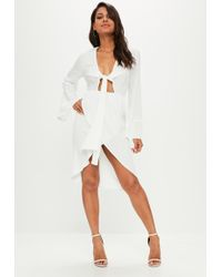 Missguided - White Satin Plunge Knot Front Midi Shift Dress - Lyst