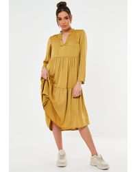 Missguided Mustard Satin Tiered Smock Dress - Yellow