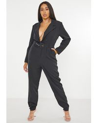 Missguided Size Black Tailored Belted Playsuit