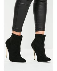 Missguided - Black Curved Metal Heel Ankle Boots - Lyst
