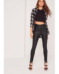 Missguided - Vice High Waisted Coated Skinny Jeans Black - Lyst