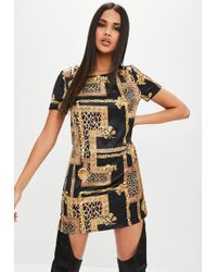 Missguided - Black Baroque Short Sleeve Satin Shift Dress - Lyst