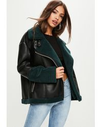 Missguided - Black Colour Block Faux Shearling Aviator Jacket - Lyst
