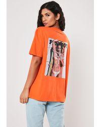 Missguided Playboy X Orange Girl Magazine Graphic Oversized T Shirt