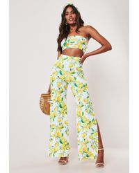 Missguided - Yellow Lemon Print Bandeau Top And Wide Leg Trousers Co Ord Set - Lyst