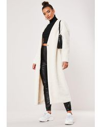 Missguided White Faux Fur Maxi Collarless Coat